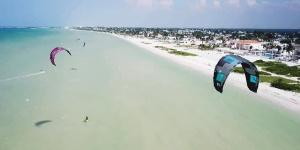 Kitesurfing in Progreso, Yucatan